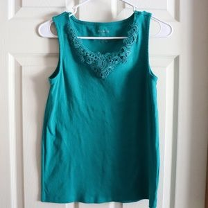 White Stag Tank Top with Lace Detailed Neckline